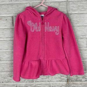 Old Navy Girl Size 5T Peplum Fleece Jacket Pink